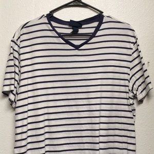 Polo white and blue striped t shirt.